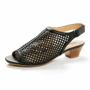 Good Soles: Black Slingback Peep-toe Sandal